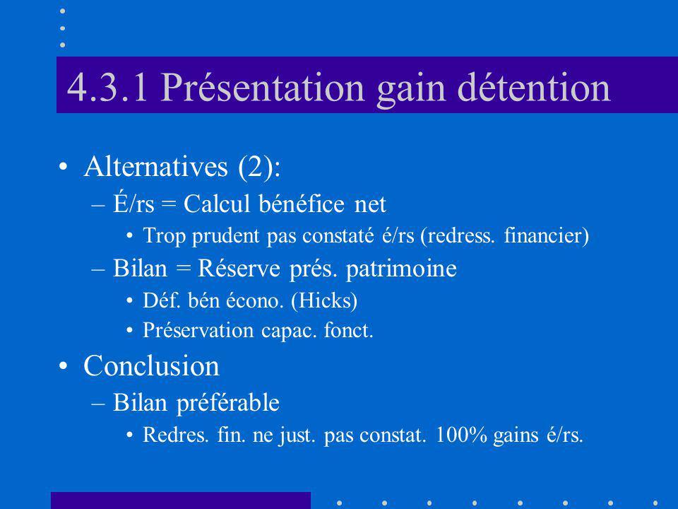 4.3.1 Présentation gain détention Alternatives (2): –É/rs = Calcul bénéfice net Trop prudent pas constaté é/rs (redress. financier) –Bilan = Réserve p