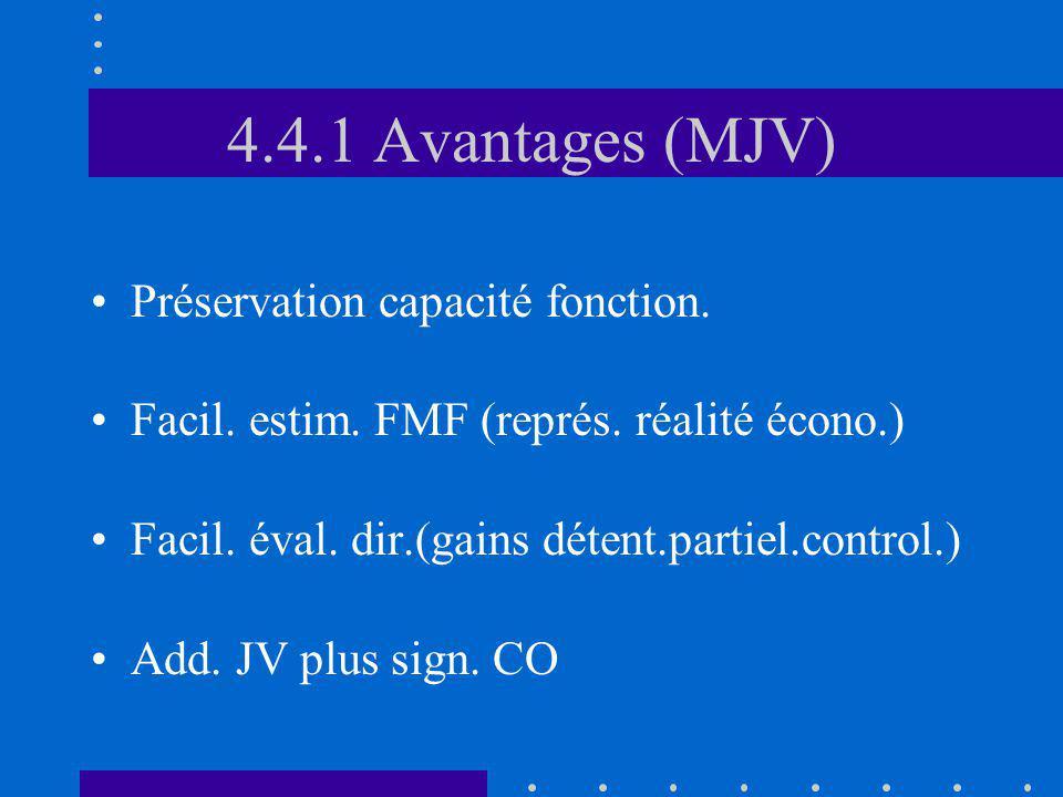 4.4.1 Avantages (MJV) Préservation capacité fonction. Facil. estim. FMF (représ. réalité écono.) Facil. éval. dir.(gains détent.partiel.control.) Add.