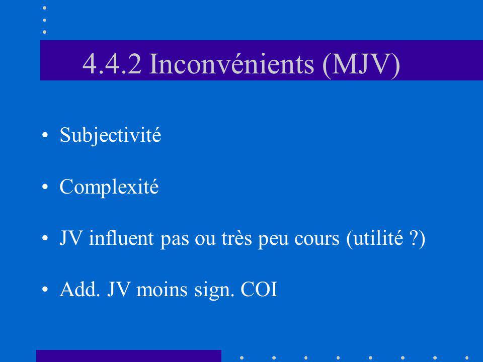 4.4.2 Inconvénients (MJV) Subjectivité Complexité JV influent pas ou très peu cours (utilité ?) Add. JV moins sign. COI