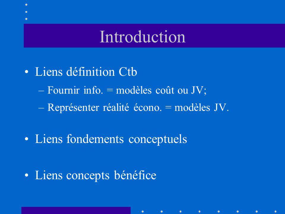 Introduction Liens définition Ctb –Fournir info. = modèles coût ou JV; –Représenter réalité écono. = modèles JV. Liens fondements conceptuels Liens co
