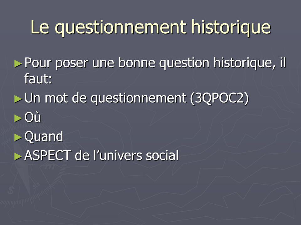 Le questionnement historique Pour poser une bonne question historique, il faut: Pour poser une bonne question historique, il faut: Un mot de questionnement (3QPOC2) Un mot de questionnement (3QPOC2) Où Où Quand Quand ASPECT de lunivers social ASPECT de lunivers social