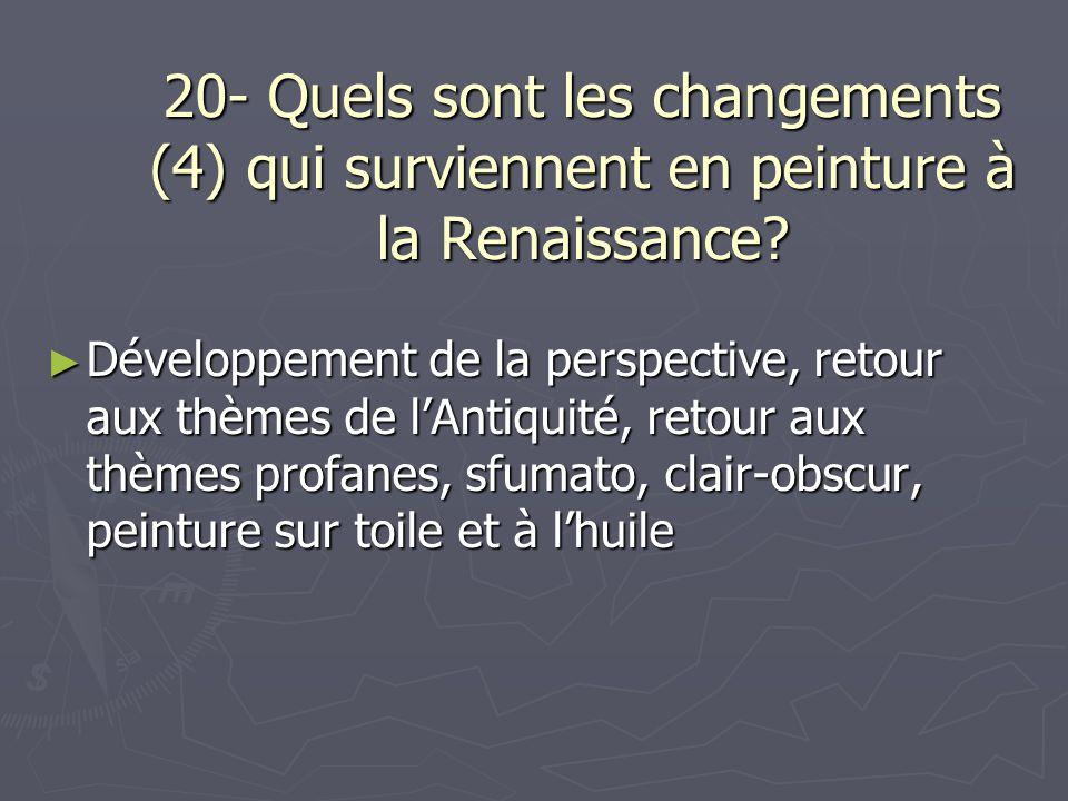 20- Quels sont les changements (4) qui surviennent en peinture à la Renaissance? Développement de la perspective, retour aux thèmes de lAntiquité, ret