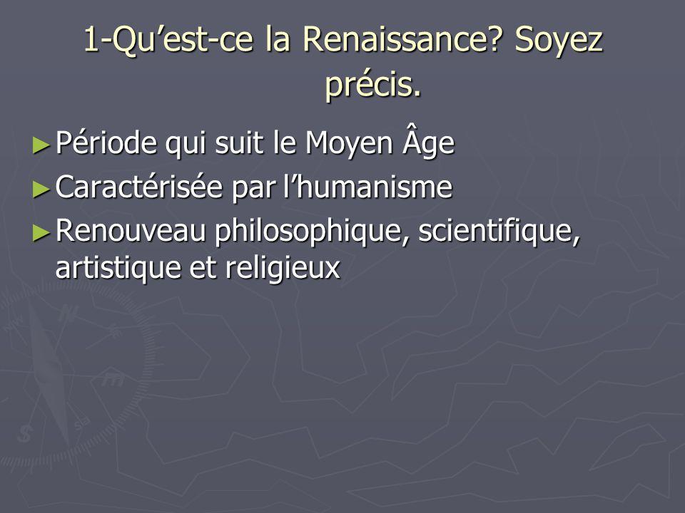 22- Quels sont les changements (2) qui surviennent en littérature à la Renaissance.