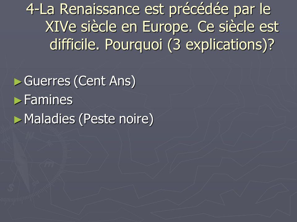 4-La Renaissance est précédée par le XIVe siècle en Europe. Ce siècle est difficile. Pourquoi (3 explications)? Guerres (Cent Ans) Guerres (Cent Ans)