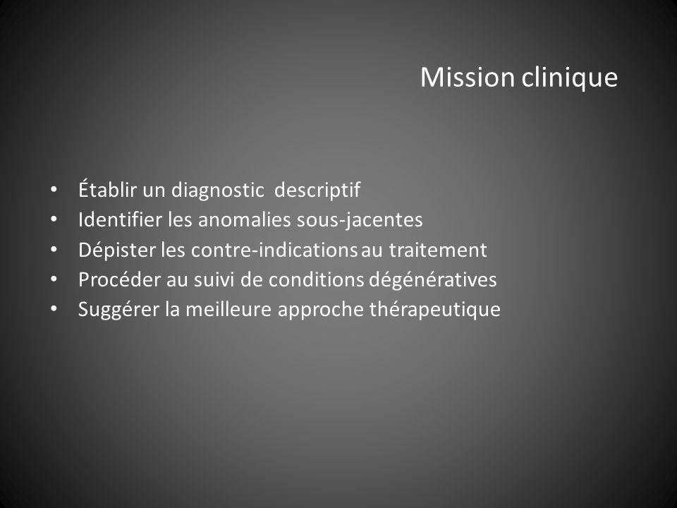 Mission clinique Établir un diagnostic descriptif Identifier les anomalies sous-jacentes Dépister les contre-indications au traitement Procéder au suivi de conditions dégénératives Suggérer la meilleure approche thérapeutique