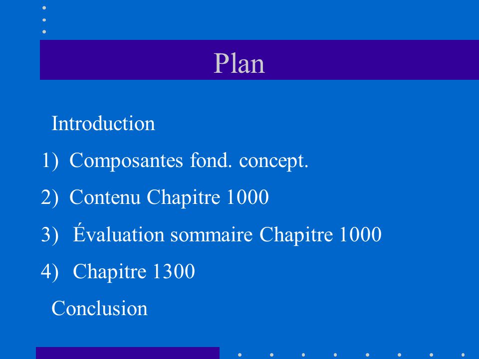 Plan Introduction 1) Composantes fond. concept.