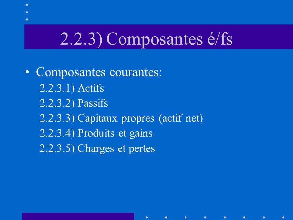 2.2.3) Composantes é/fs Composantes courantes: 2.2.3.1) Actifs 2.2.3.2) Passifs 2.2.3.3) Capitaux propres (actif net) 2.2.3.4) Produits et gains 2.2.3.5) Charges et pertes