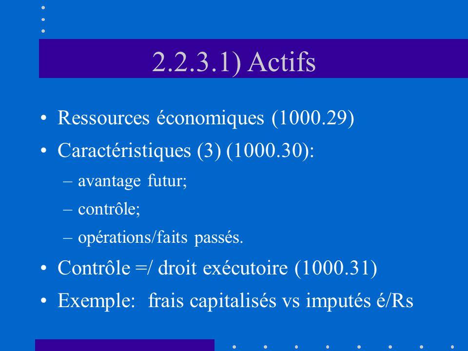 2.2.3.1) Actifs Ressources économiques (1000.29) Caractéristiques (3) (1000.30): –avantage futur; –contrôle; –opérations/faits passés.
