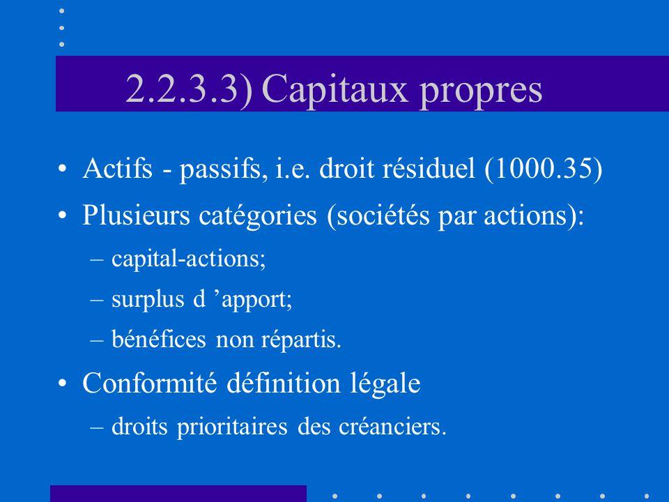 2.2.3.3) Capitaux propres Actifs - passifs, i.e.