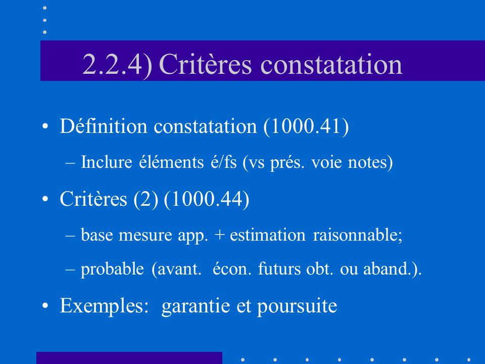 2.2.4) Critères constatation Définition constatation (1000.41) –Inclure éléments é/fs (vs prés.