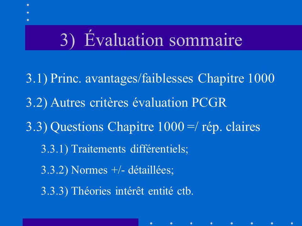 3) Évaluation sommaire 3.1) Princ.