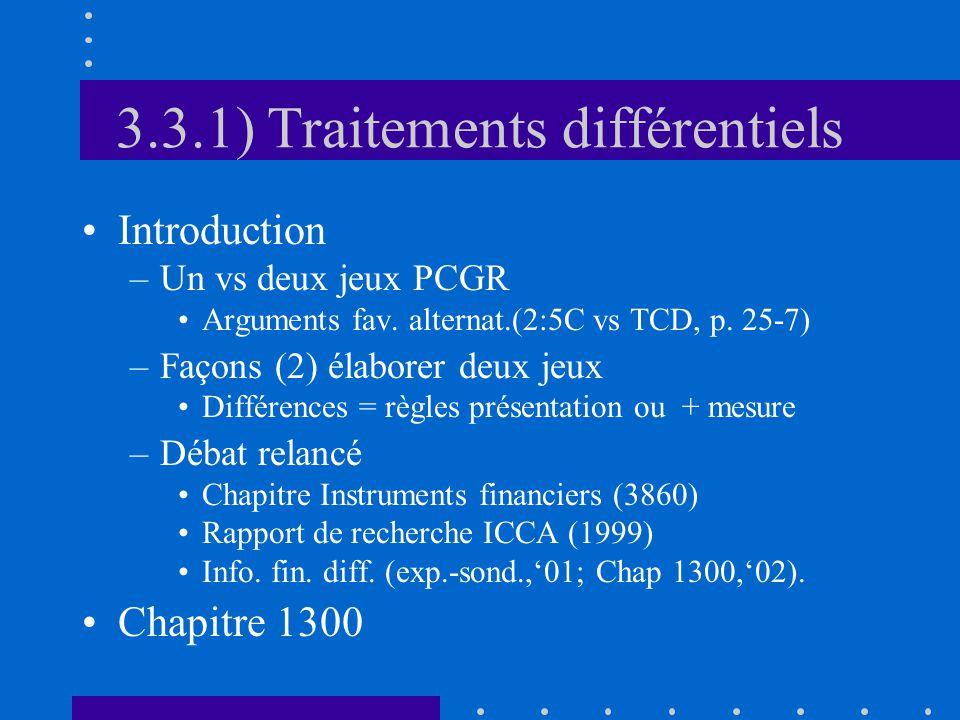 3.3.1) Traitements différentiels Introduction –Un vs deux jeux PCGR Arguments fav.