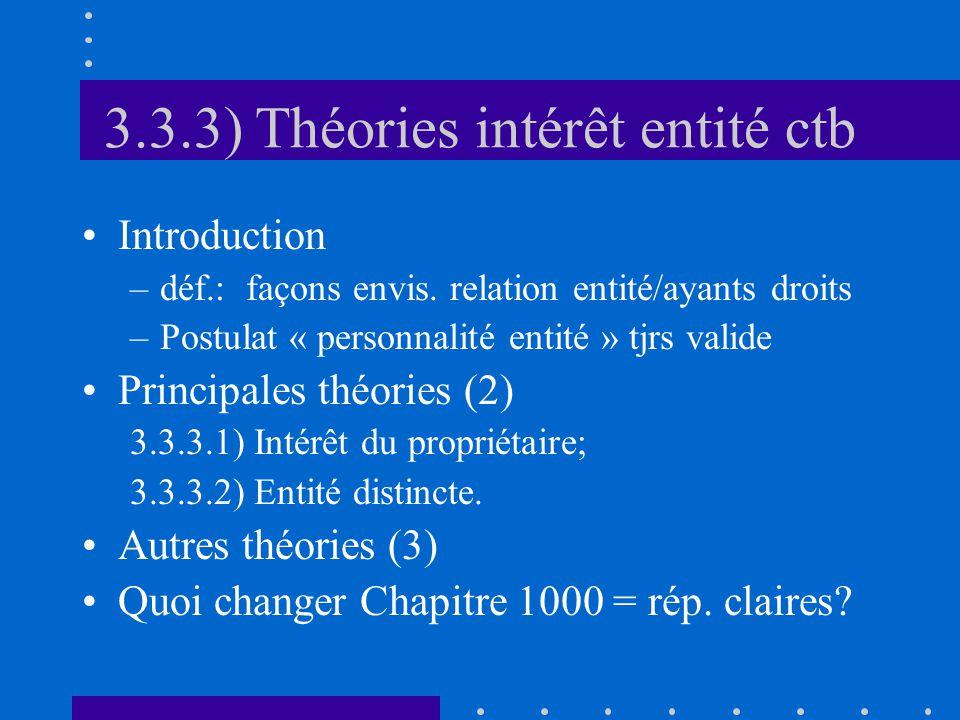 3.3.3) Théories intérêt entité ctb Introduction –déf.: façons envis.