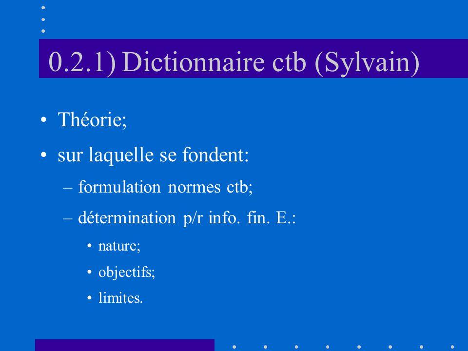 0.2.1) Dictionnaire ctb (Sylvain) Théorie; sur laquelle se fondent: –formulation normes ctb; –détermination p/r info.