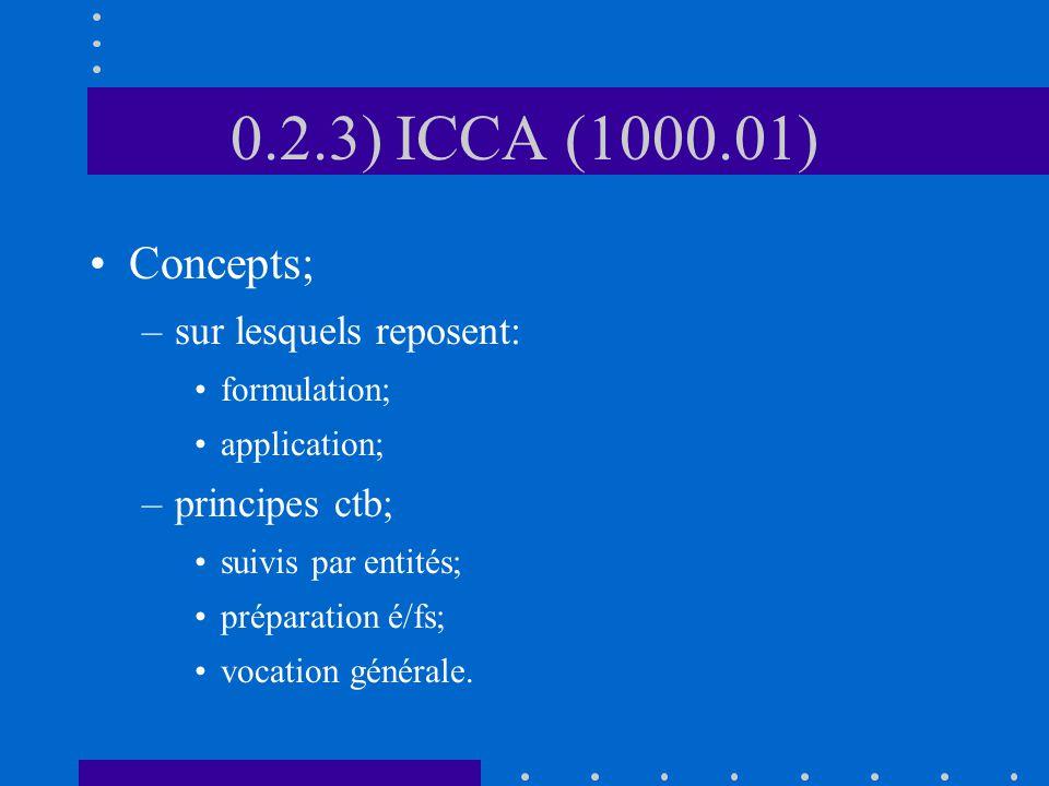 0.2.3) ICCA (1000.01) Concepts; –sur lesquels reposent: formulation; application; –principes ctb; suivis par entités; préparation é/fs; vocation générale.