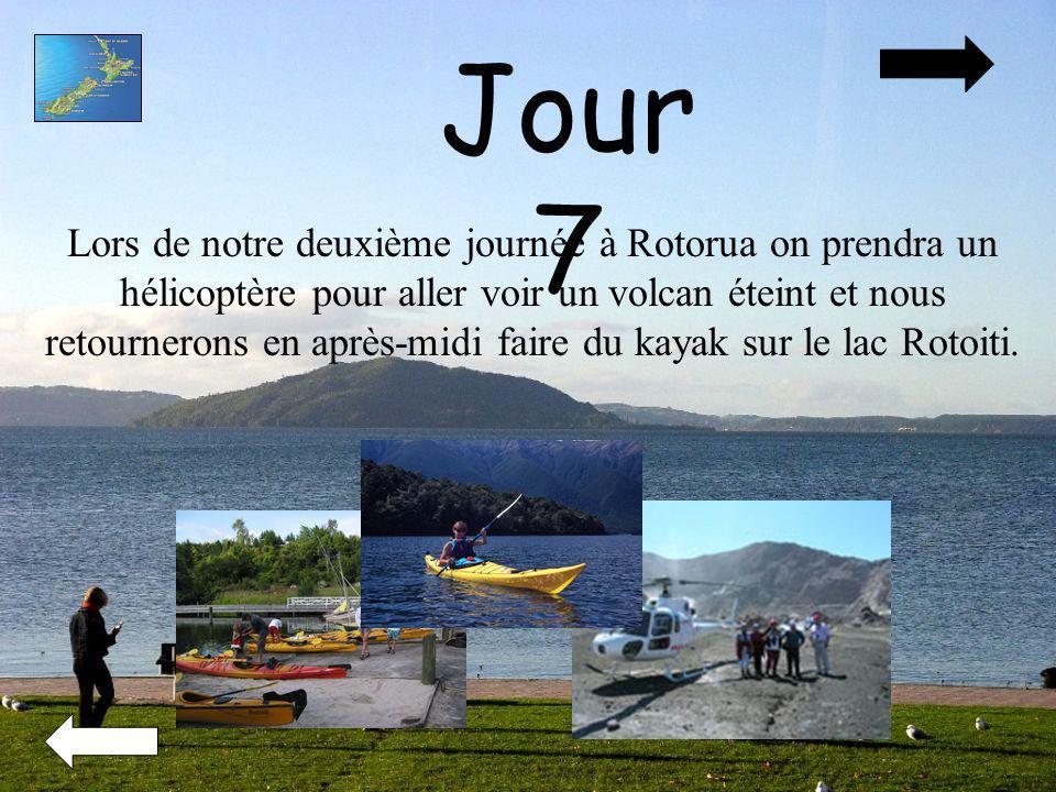 Jour 7 Lors de notre deuxième journée à Rotorua on prendra un hélicoptère pour aller voir un volcan éteint et nous retournerons en après-midi faire du