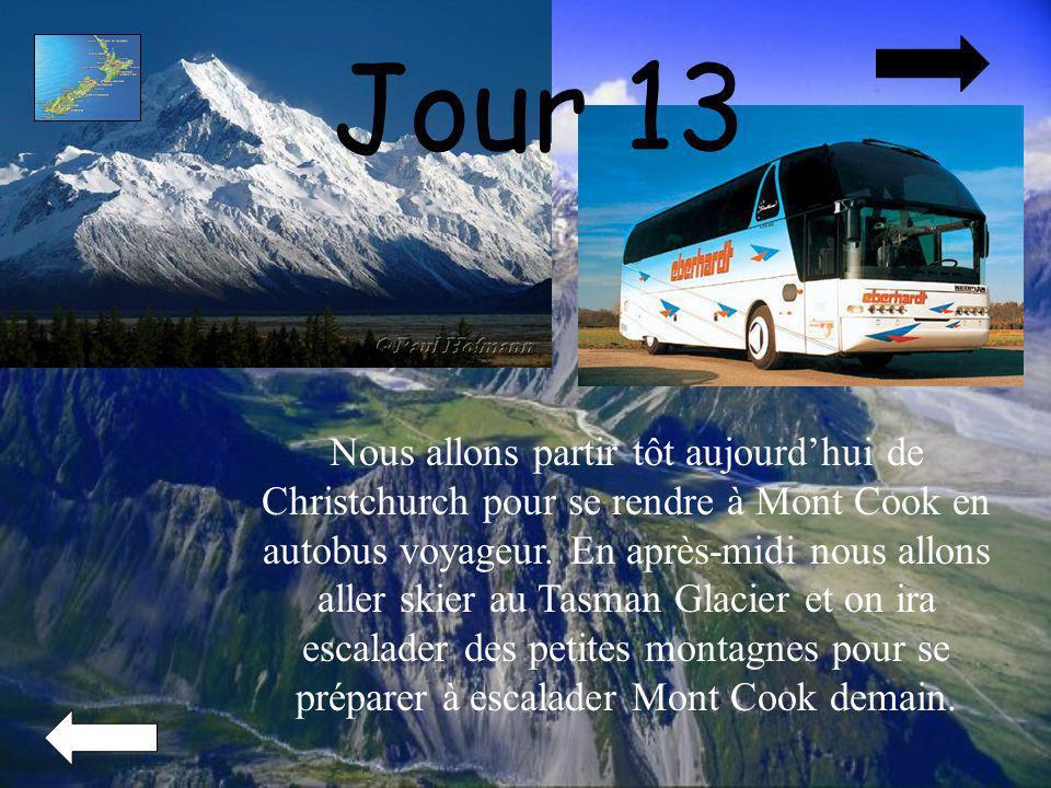 Jour 13 Nous allons partir tôt aujourdhui de Christchurch pour se rendre à Mont Cook en autobus voyageur. En après-midi nous allons aller skier au Tas