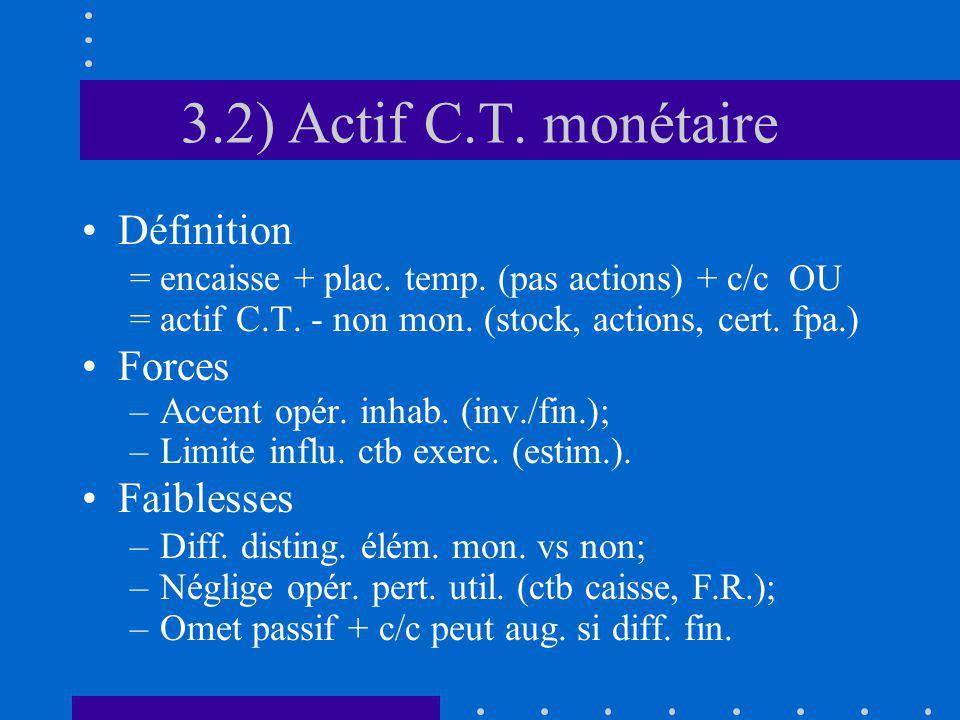 3.2) Actif C.T. monétaire Définition = encaisse + plac.