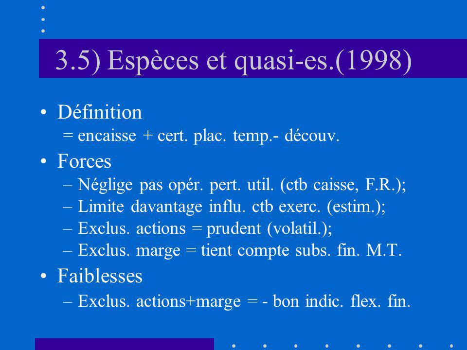 3.5) Espèces et quasi-es.(1998) Définition = encaisse + cert.
