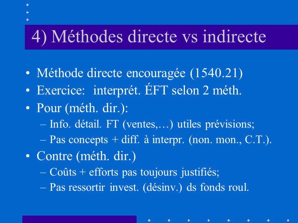 4) Méthodes directe vs indirecte Méthode directe encouragée (1540.21) Exercice: interprét.
