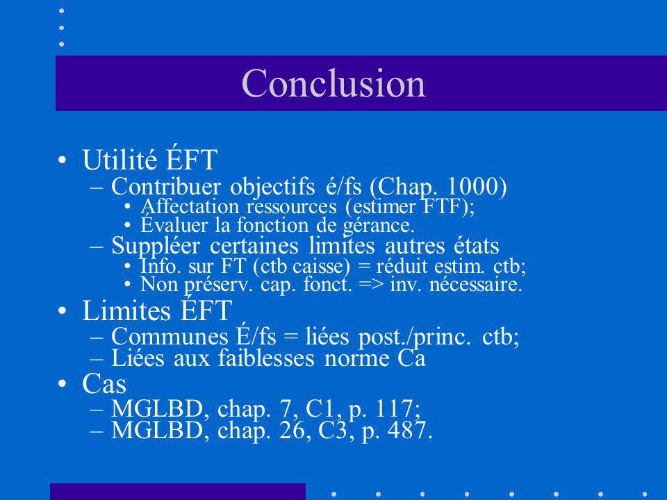 Conclusion Utilité ÉFT –Contribuer objectifs é/fs (Chap.