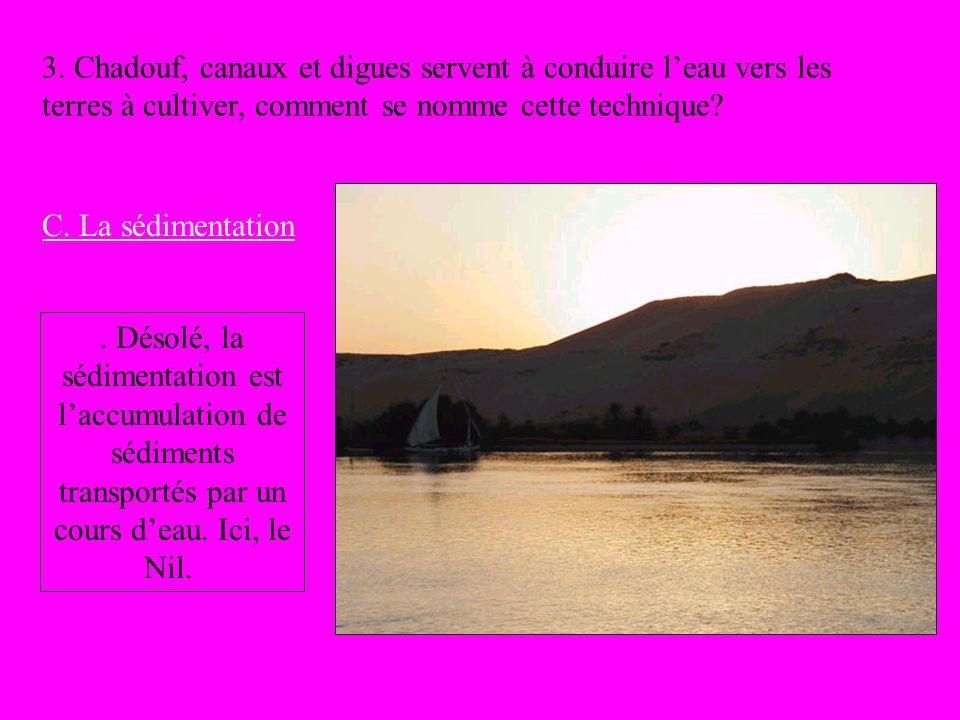 3. Chadouf, canaux et digues servent à conduire leau vers les terres à cultiver, comment se nomme cette technique? C. La sédimentation. Désolé, la séd