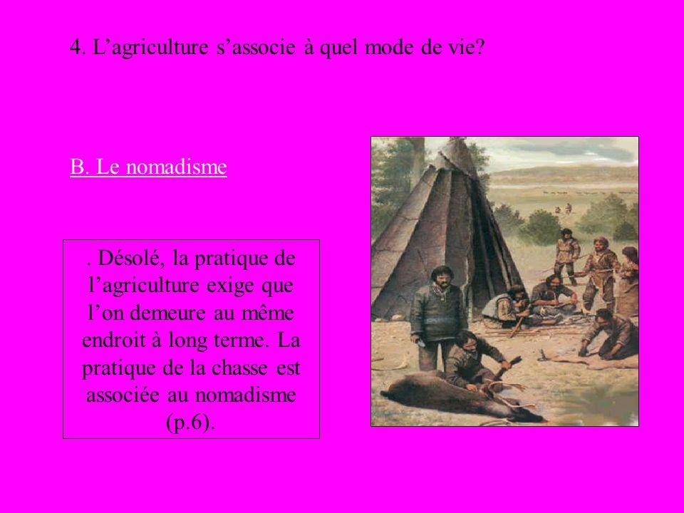 4. Lagriculture sassocie à quel mode de vie? B. Le nomadisme. Désolé, la pratique de lagriculture exige que lon demeure au même endroit à long terme.