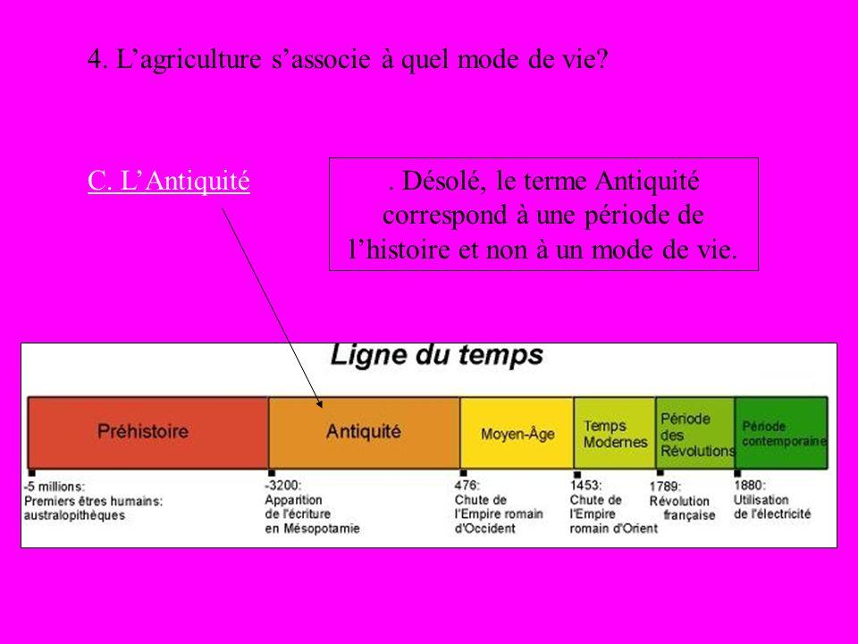 4. Lagriculture sassocie à quel mode de vie? C. LAntiquité. Désolé, le terme Antiquité correspond à une période de lhistoire et non à un mode de vie.
