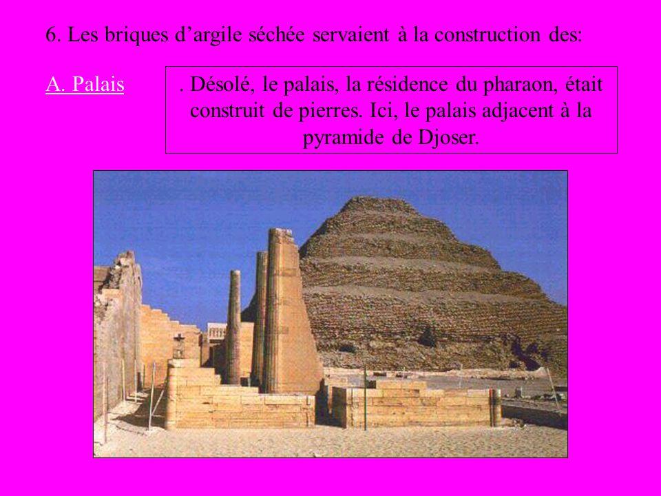 6. Les briques dargile séchée servaient à la construction des: A. Palais. Désolé, le palais, la résidence du pharaon, était construit de pierres. Ici,