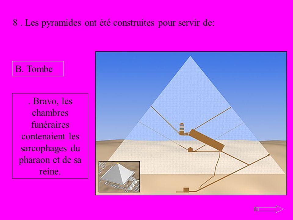 8. Les pyramides ont été construites pour servir de: B. Tombe. Bravo, les chambres funéraires contenaient les sarcophages du pharaon et de sa reine.