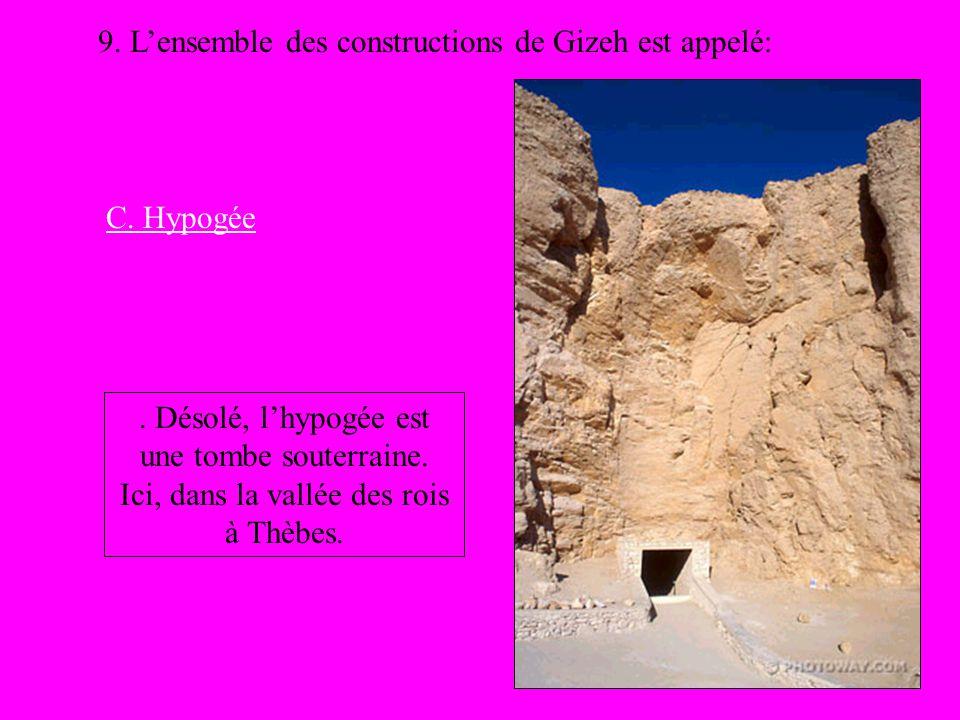 9. Lensemble des constructions de Gizeh est appelé: C. Hypogée. Désolé, lhypogée est une tombe souterraine. Ici, dans la vallée des rois à Thèbes.