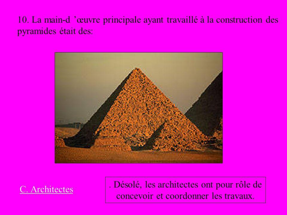 10. La main-d œuvre principale ayant travaillé à la construction des pyramides était des: C. Architectes. Désolé, les architectes ont pour rôle de con