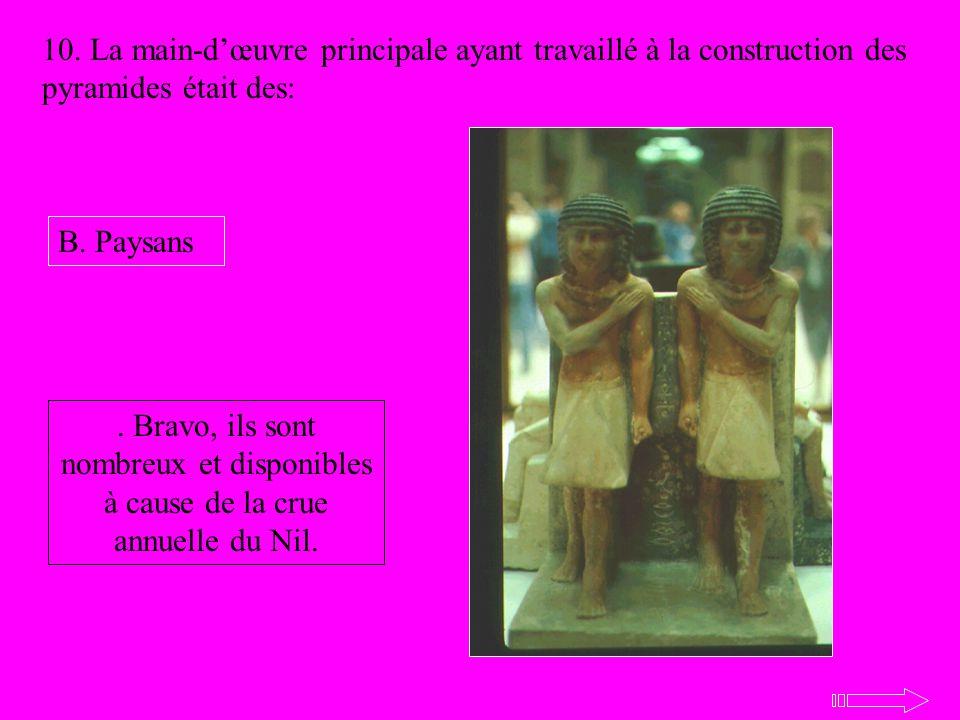 10. La main-dœuvre principale ayant travaillé à la construction des pyramides était des: B. Paysans. Bravo, ils sont nombreux et disponibles à cause d