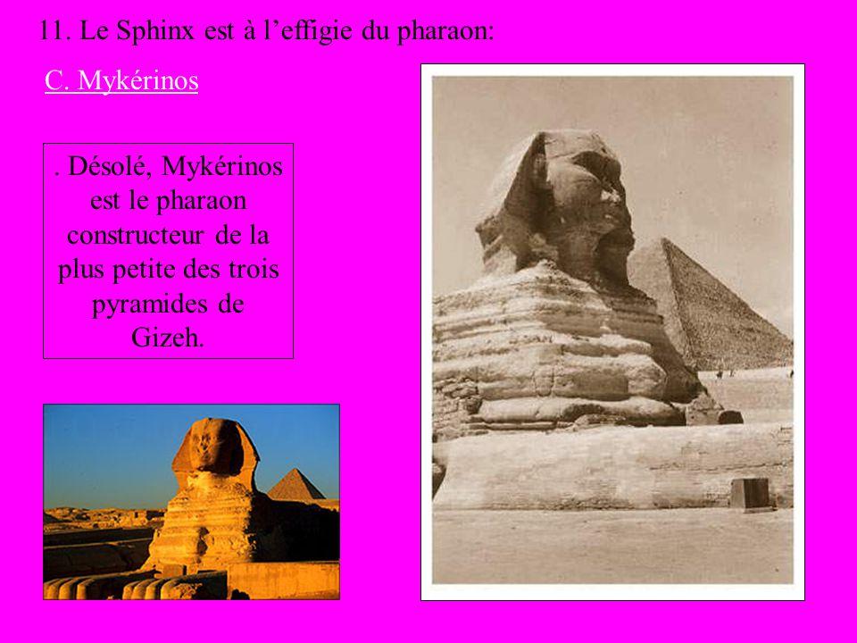 11. Le Sphinx est à leffigie du pharaon: C. Mykérinos. Désolé, Mykérinos est le pharaon constructeur de la plus petite des trois pyramides de Gizeh.