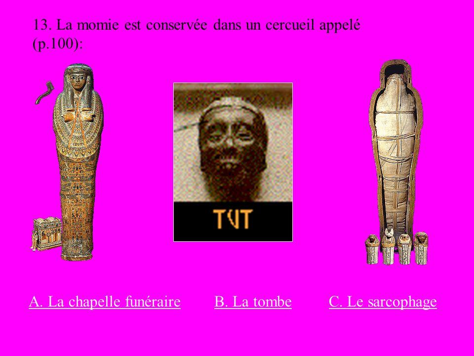 13. La momie est conservée dans un cercueil appelé (p.100): C. Le sarcophageB. La tombeA. La chapelle funéraire