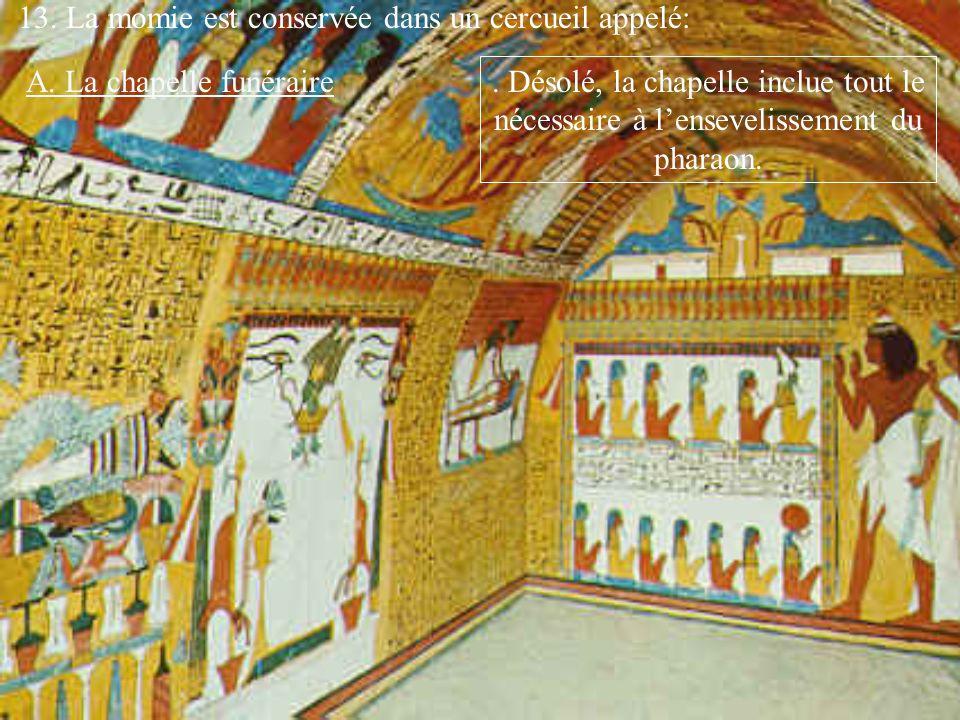 13. La momie est conservée dans un cercueil appelé: A. La chapelle funéraire. Désolé, la chapelle inclue tout le nécessaire à lensevelissement du phar