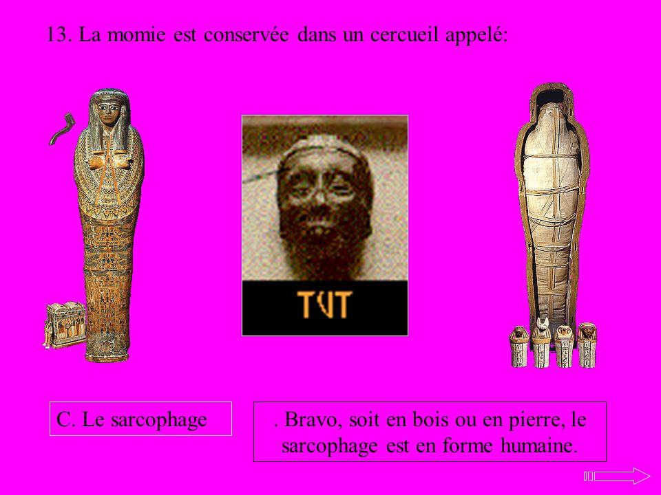 13. La momie est conservée dans un cercueil appelé:. Bravo, soit en bois ou en pierre, le sarcophage est en forme humaine. C. Le sarcophage
