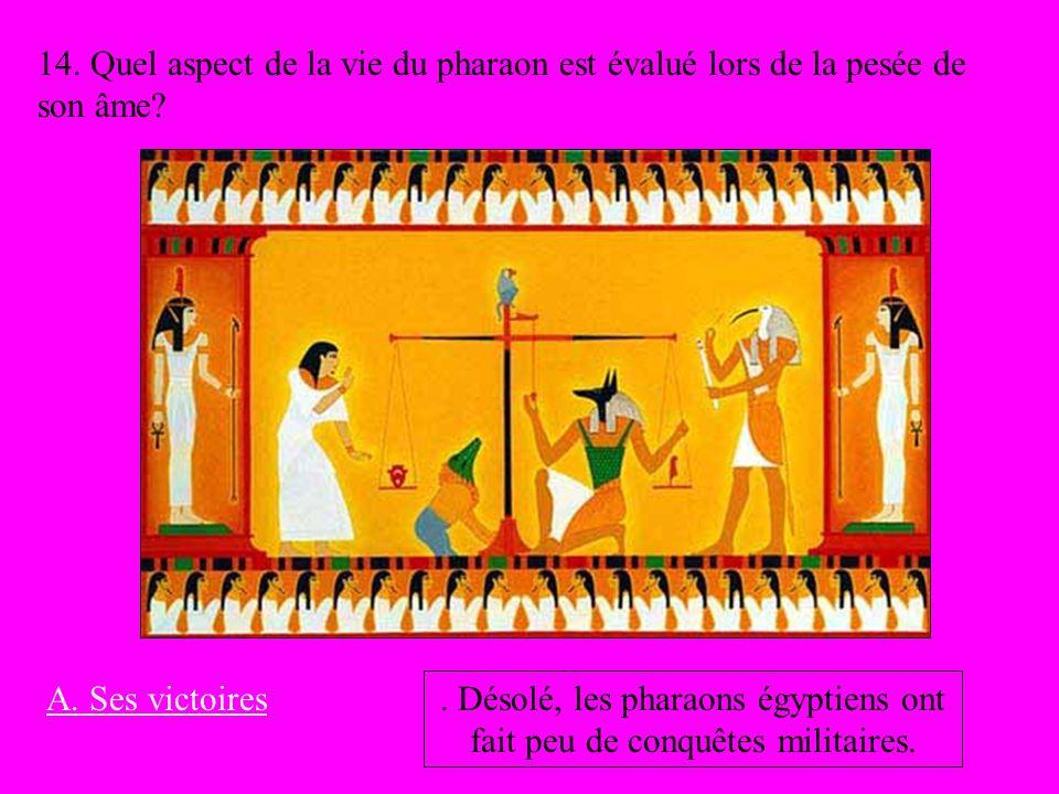 14. Quel aspect de la vie du pharaon est évalué lors de la pesée de son âme? A. Ses victoires. Désolé, les pharaons égyptiens ont fait peu de conquête