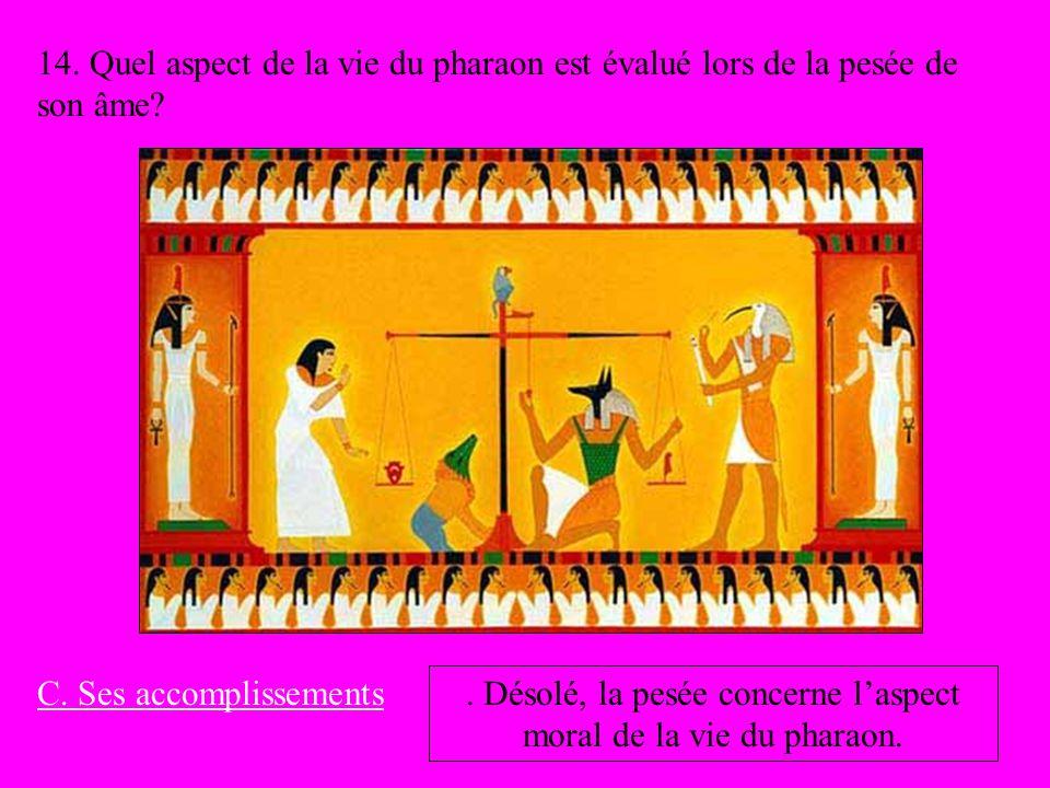 14. Quel aspect de la vie du pharaon est évalué lors de la pesée de son âme? C. Ses accomplissements. Désolé, la pesée concerne laspect moral de la vi