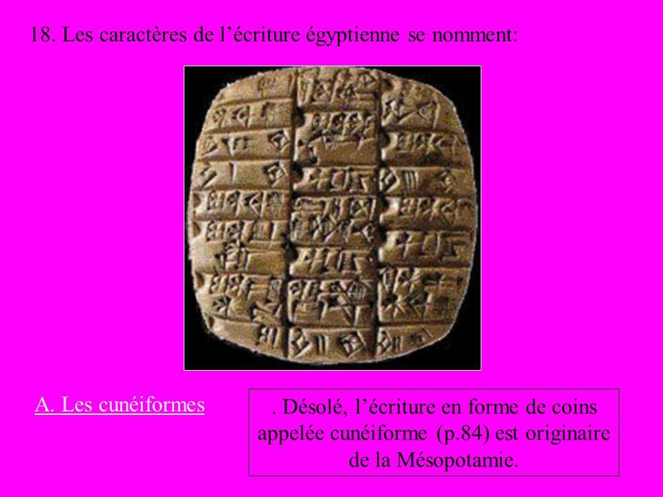 18. Les caractères de lécriture égyptienne se nomment: A. Les cunéiformes. Désolé, lécriture en forme de coins appelée cunéiforme (p.84) est originair