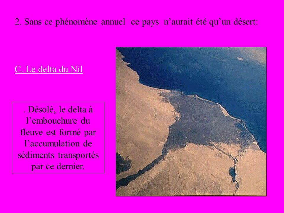 2. Sans ce phénomène annuel ce pays naurait été quun désert: C. Le delta du Nil. Désolé, le delta à lembouchure du fleuve est formé par laccumulation