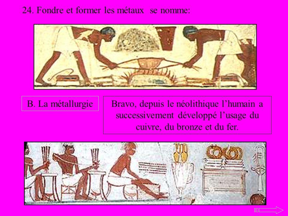 24. Fondre et former les métaux se nomme: B. La métallurgieBravo, depuis le néolithique lhumain a successivement développé lusage du cuivre, du bronze