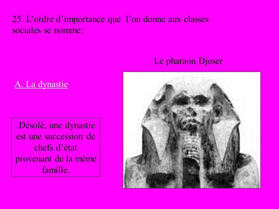Le pharaon Djoser 25. Lordre dimportance que lon donne aux classes sociales se nomme: A. La dynastie.Désolé, une dynastie est une succession de chefs