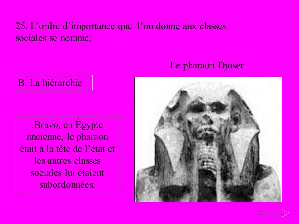 Le pharaon Djoser 25. Lordre dimportance que lon donne aux classes sociales se nomme: B. La hiérarchie.Bravo, en Égypte ancienne, le pharaon était à l