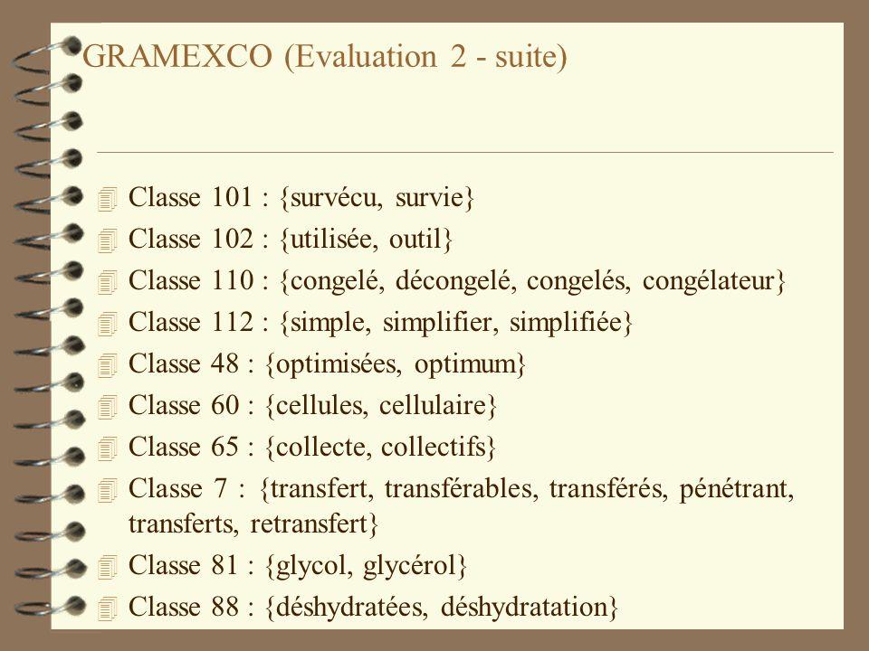 GRAMEXCO (Evaluation 2 - suite) 4 Classe 101 : {survécu, survie} 4 Classe 102 : {utilisée, outil} 4 Classe 110 : {congelé, décongelé, congelés, congél