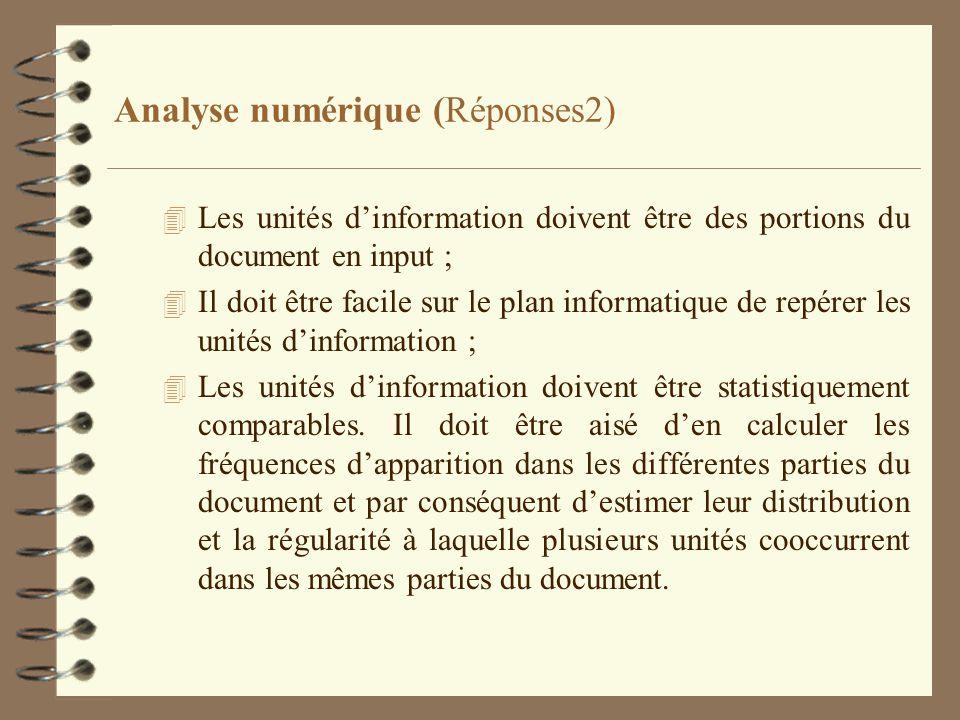 Analyse numérique (Réponses2) 4 Les unités dinformation doivent être des portions du document en input ; 4 Il doit être facile sur le plan informatiqu