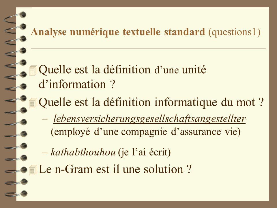 Analyse numérique textuelle standard (questions1) 4 Quelle est la définition dune unité dinformation ? 4 Quelle est la définition informatique du mot