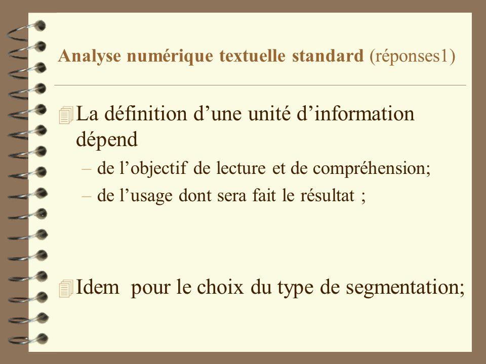 Analyse numérique textuelle standard (réponses1) 4 La définition dune unité dinformation dépend –de lobjectif de lecture et de compréhension; –de lusa
