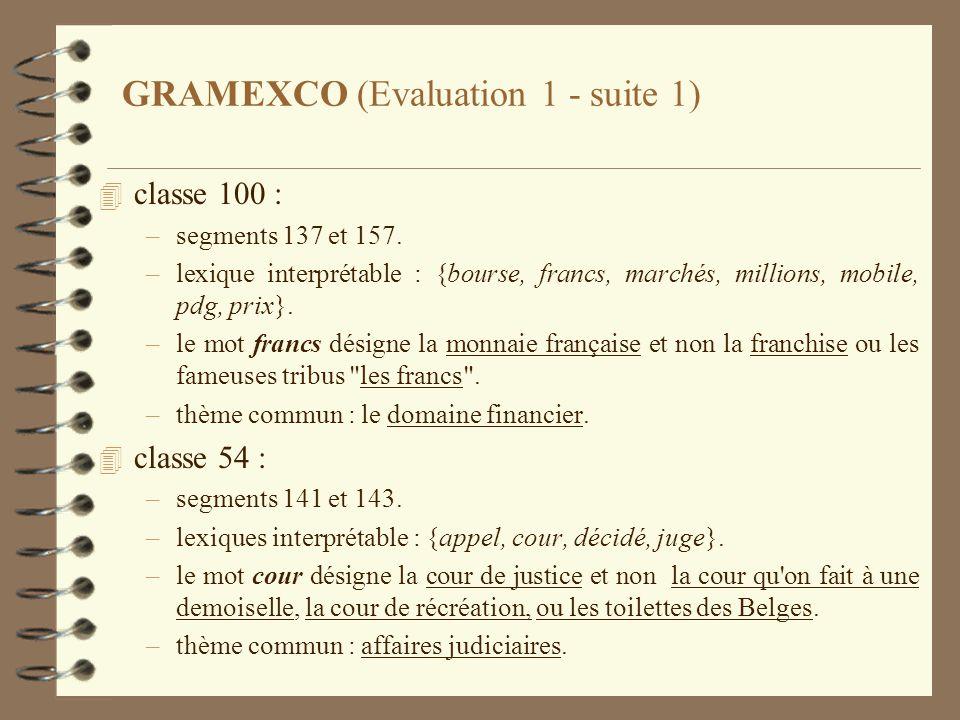 GRAMEXCO (Evaluation 1 - suite 1) 4 classe 100 : –segments 137 et 157. –lexique interprétable : {bourse, francs, marchés, millions, mobile, pdg, prix}