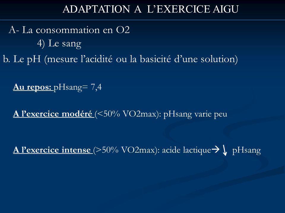 ADAPTATION A LEXERCICE AIGU A- La consommation en O2 4) Le sang b.